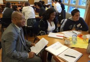 Participantes et participants à la table francophone : Joseph Kabunga, Anastasie Aschiero , Greta Ortega