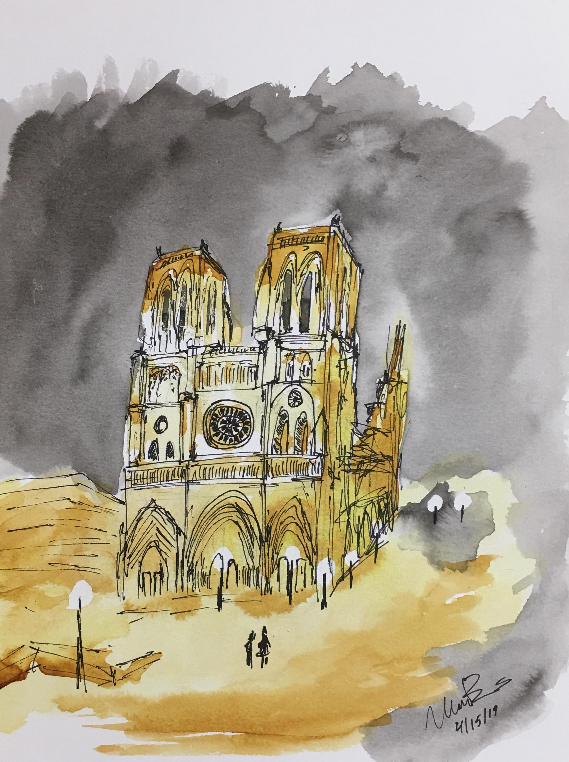 Aquarelle de la cathédrale Notre-Dame de Paris